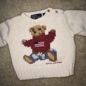 POLO RAPLH LAUREN BEAR SWEATER FOR BABY (size s/m)